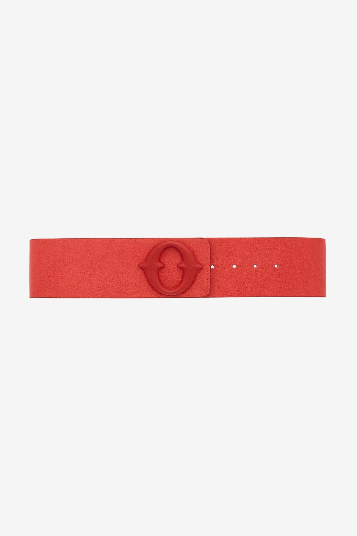 Leather belt with leather buckle