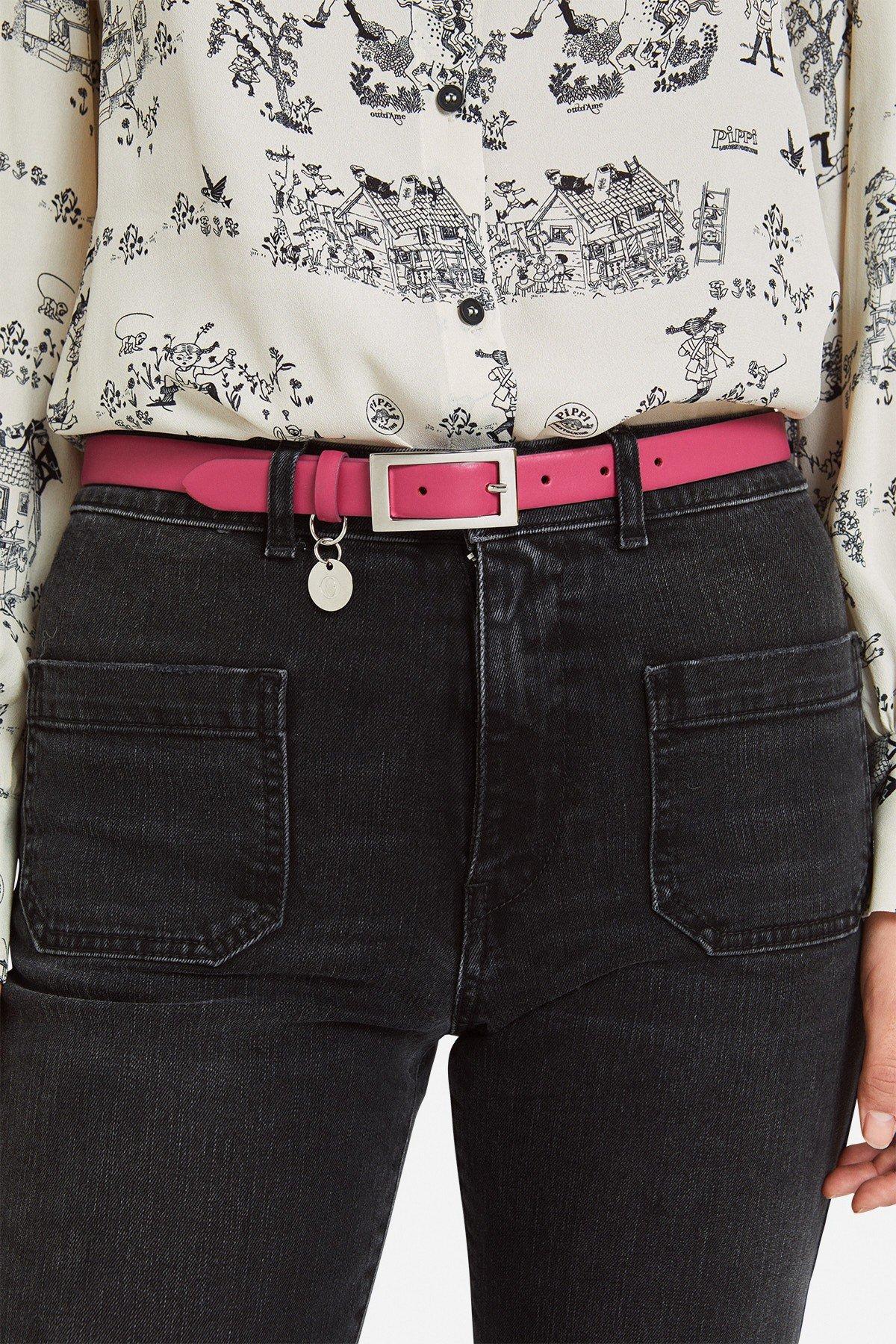 Thin leather belt