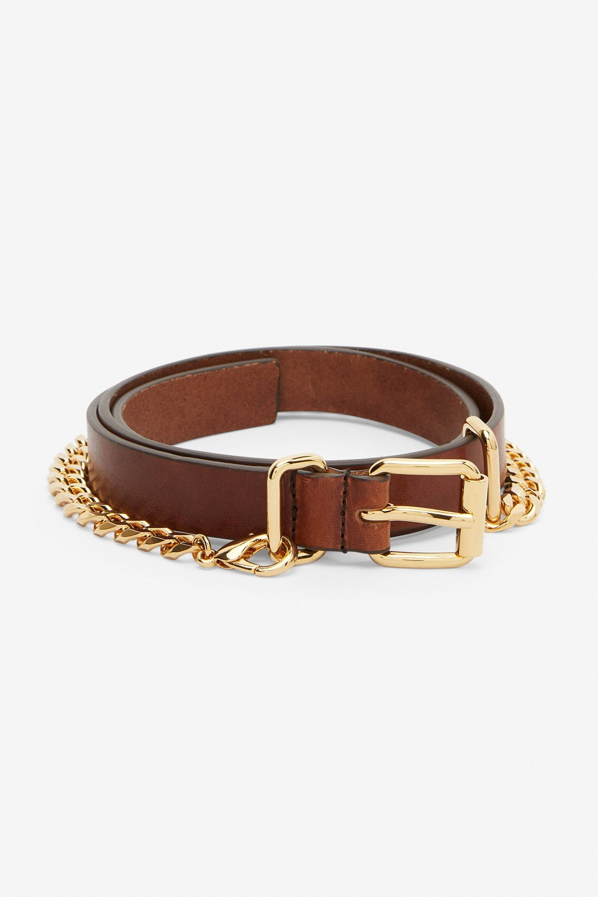 Thin leather belt with chain