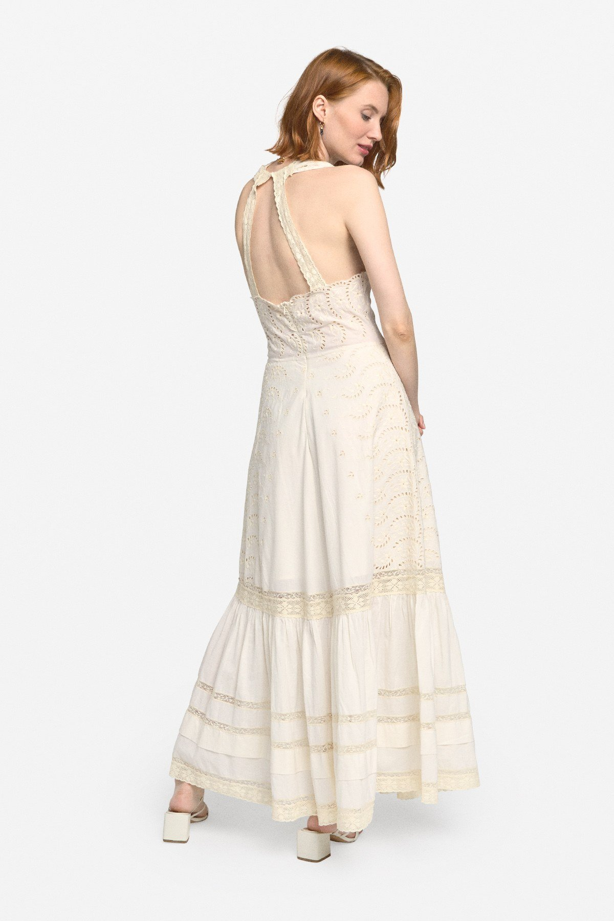 Sangallo long dress with embroidered inserts