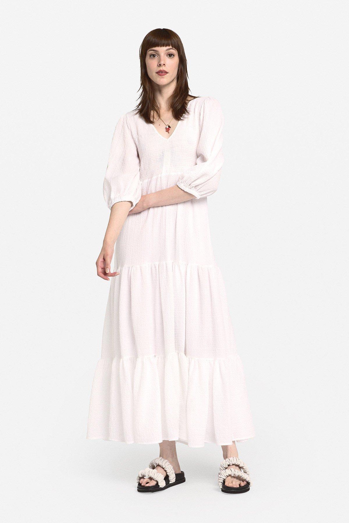 Oversized cotton dress with maxi ruffles