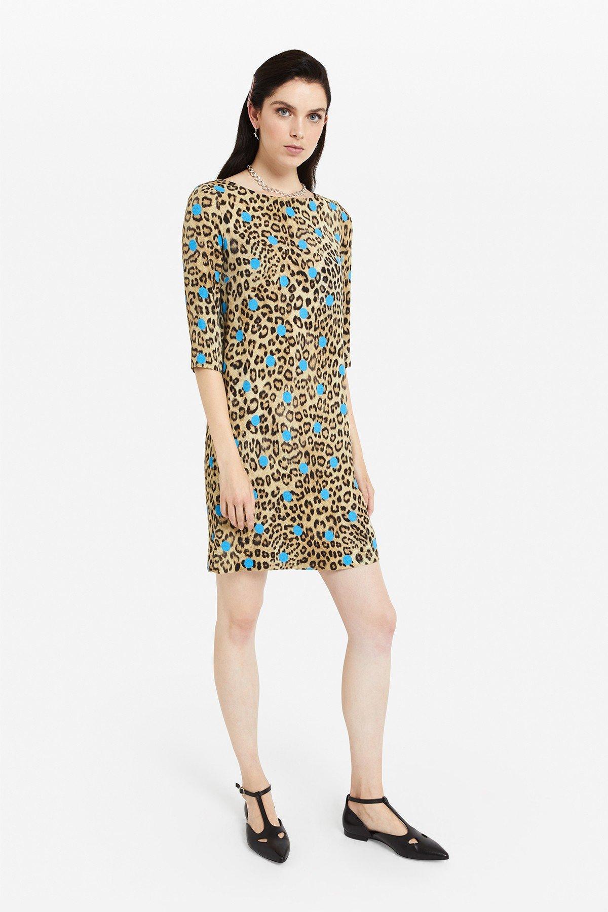 Viscose midi dress with 'Animalier & Pois' print