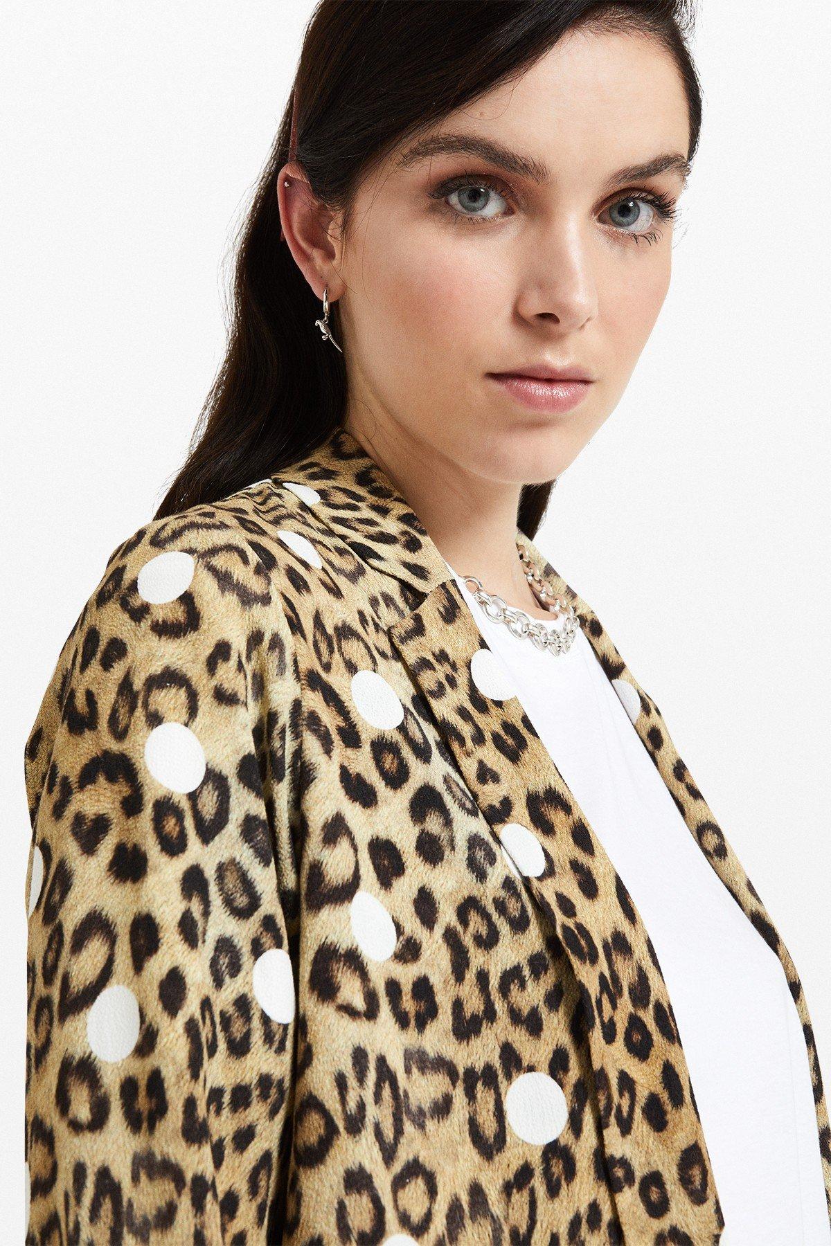 Viscose blazer with 'Animalier & Pois' print