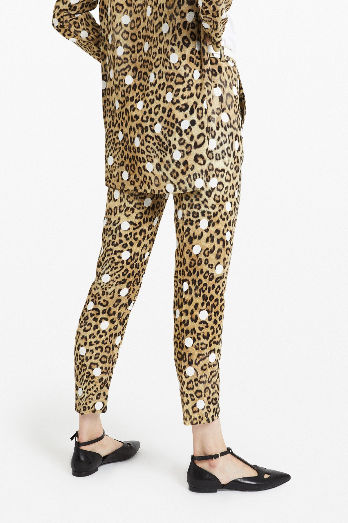 Viscose trousers with 'Animalier & Pois' print