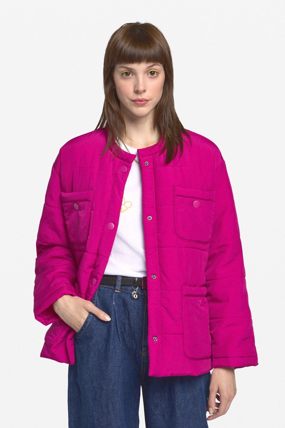 Down jacket with maxi pockets
