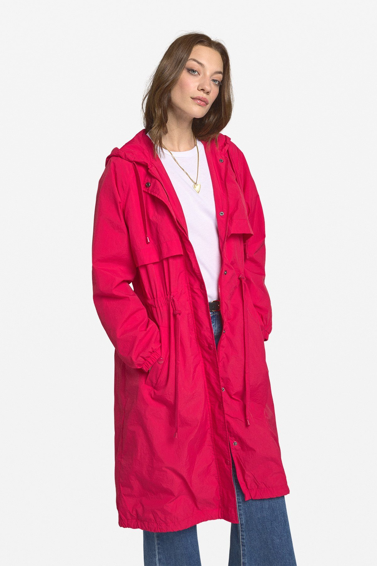 Trench coat with hood