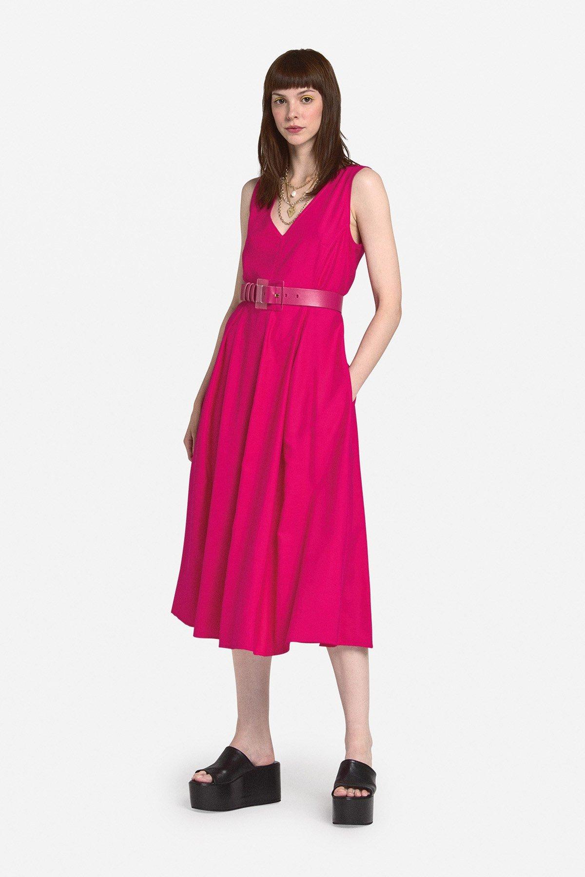 Midi dress with poodle skirt