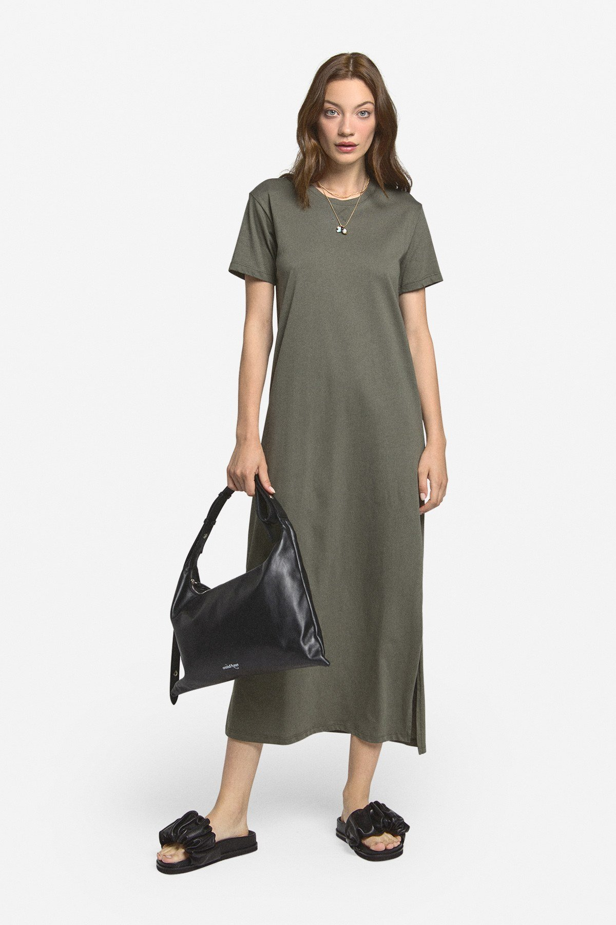 Cotton midi dress with side slit