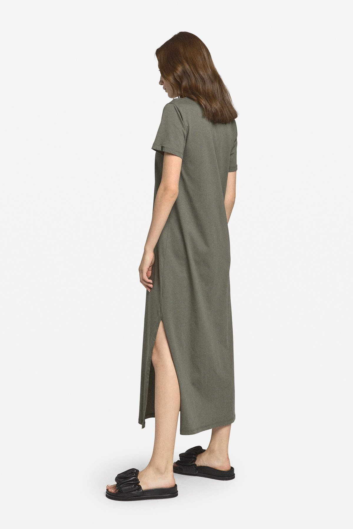Cotton midi dress with side slit