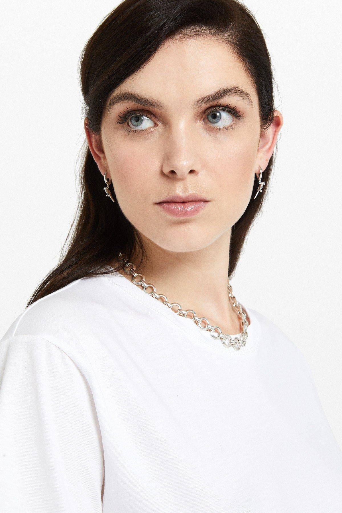 Flared cotton T-shirt