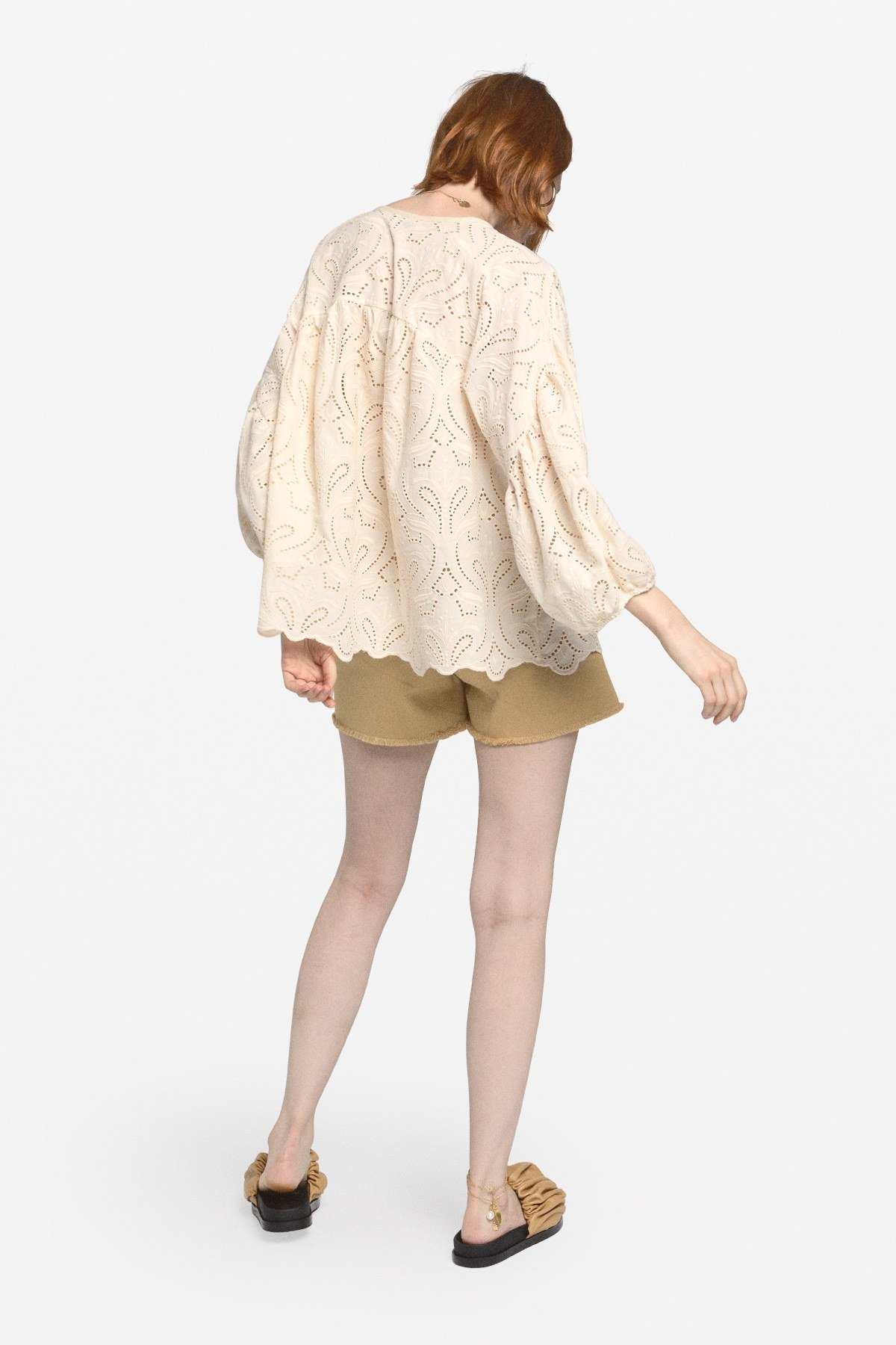 Embroidered cotton flared blouse
