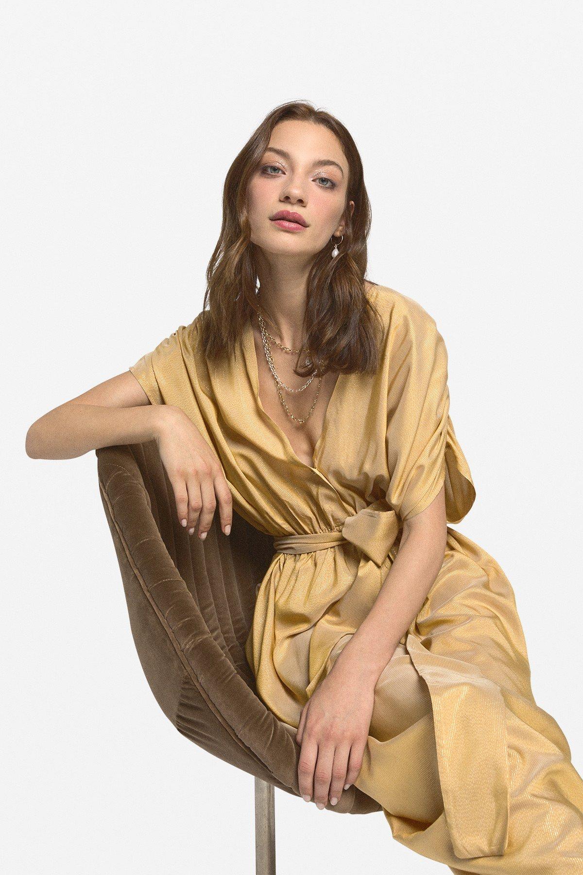 Viscose long dress with sash