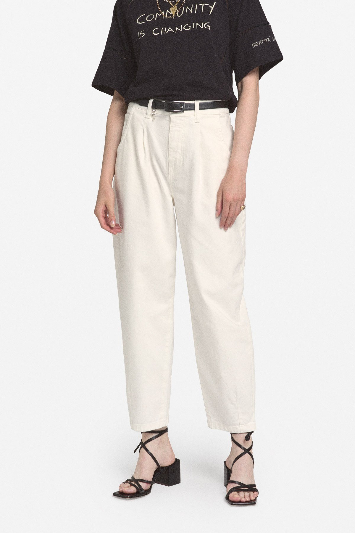 Cotton pinch roll jeans
