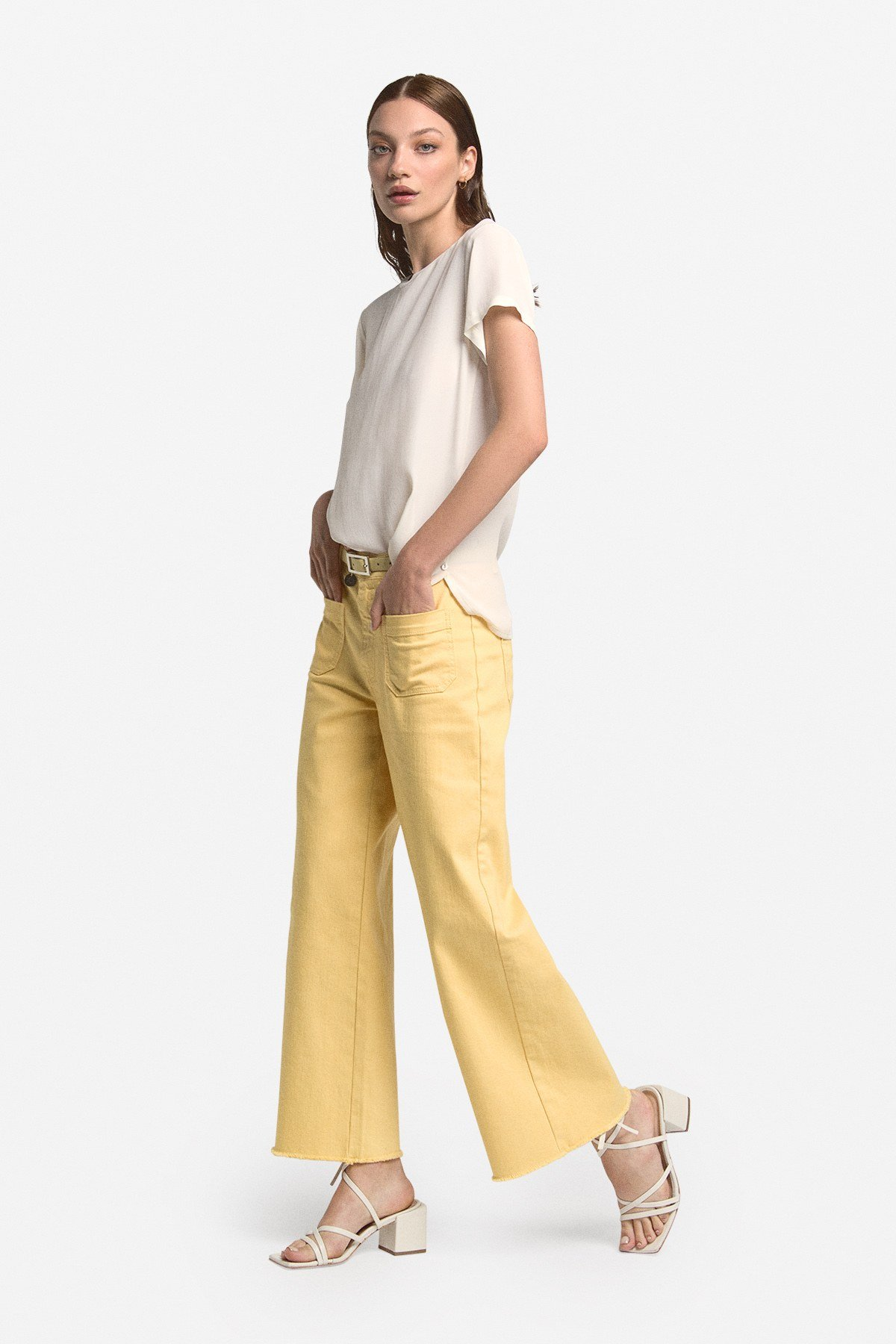 Cotton cropped jeans