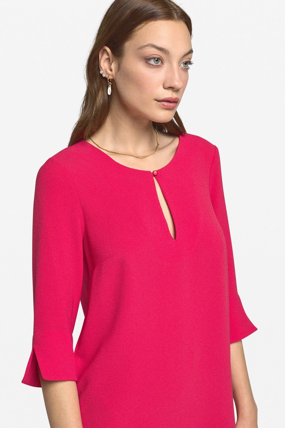 Mini dress with teardrop neckline