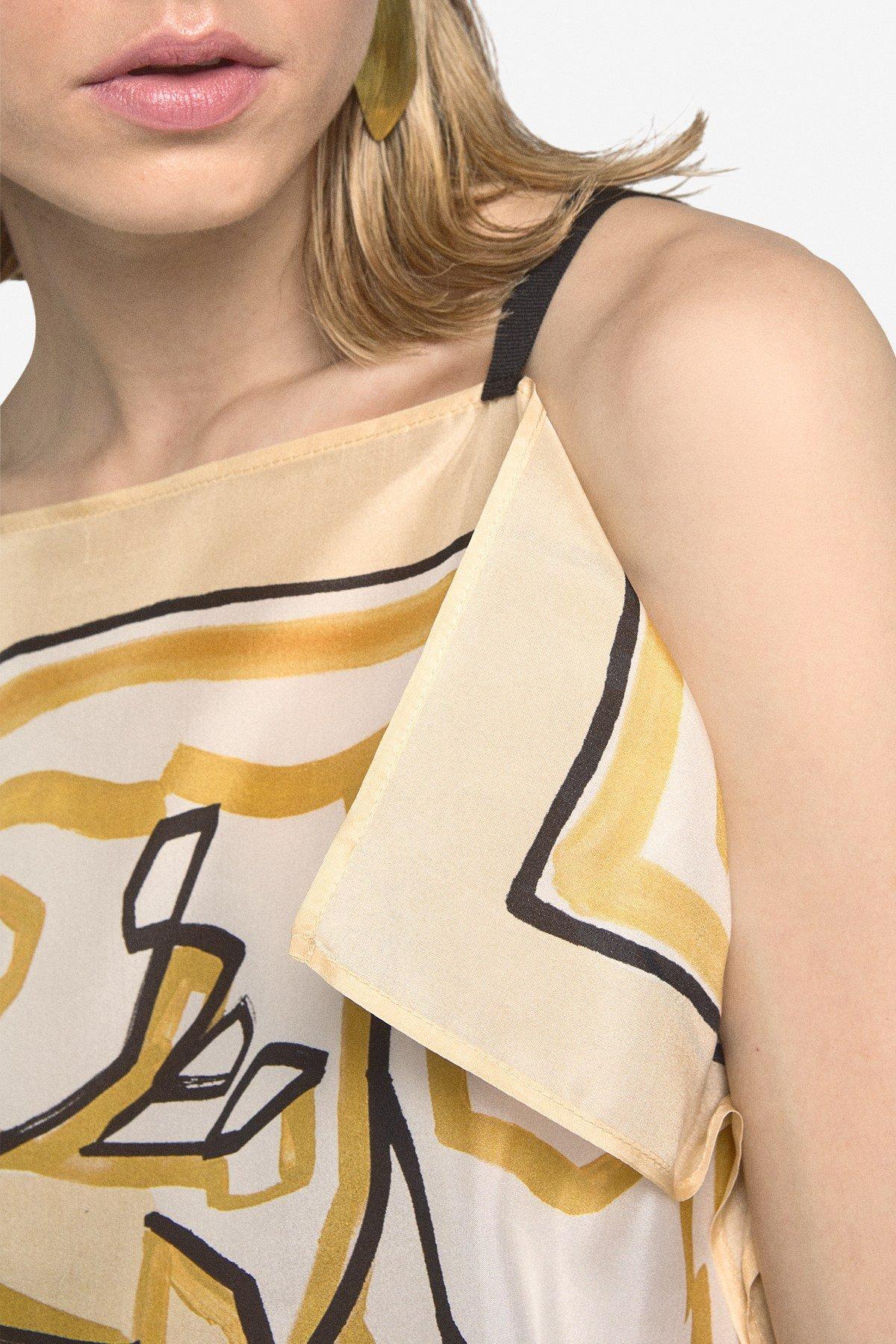 Printed silk top