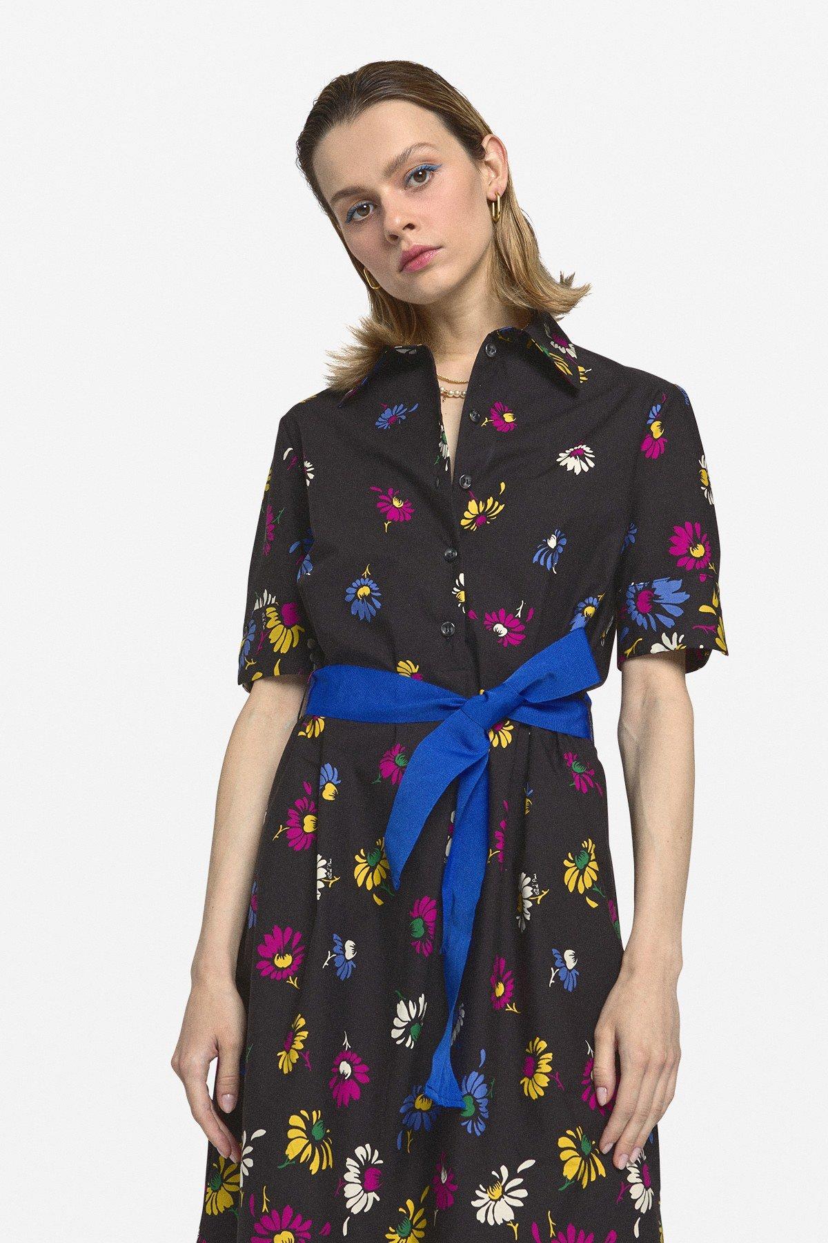 Cotton long dress with sash