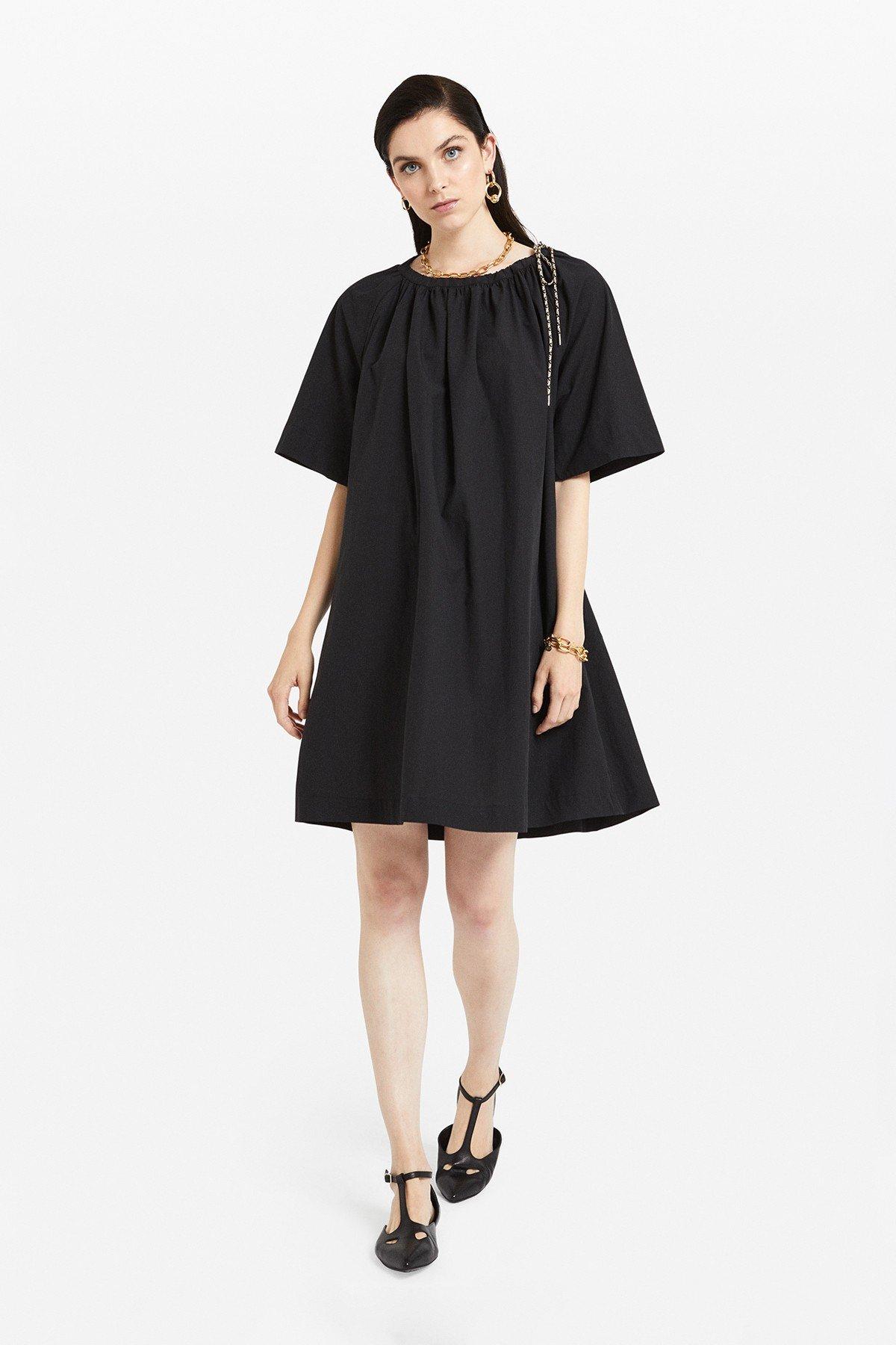 Flared poplin mini dress