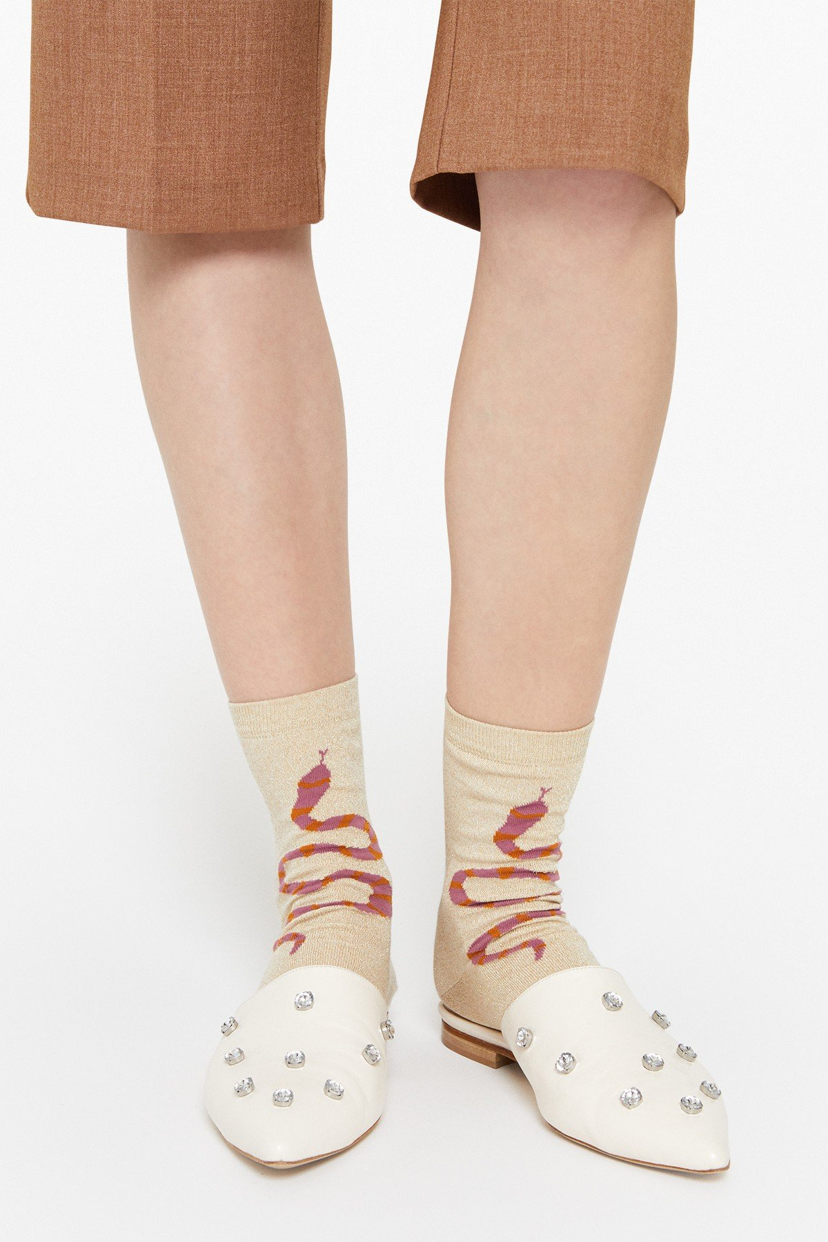 Embroidered cotton short socks