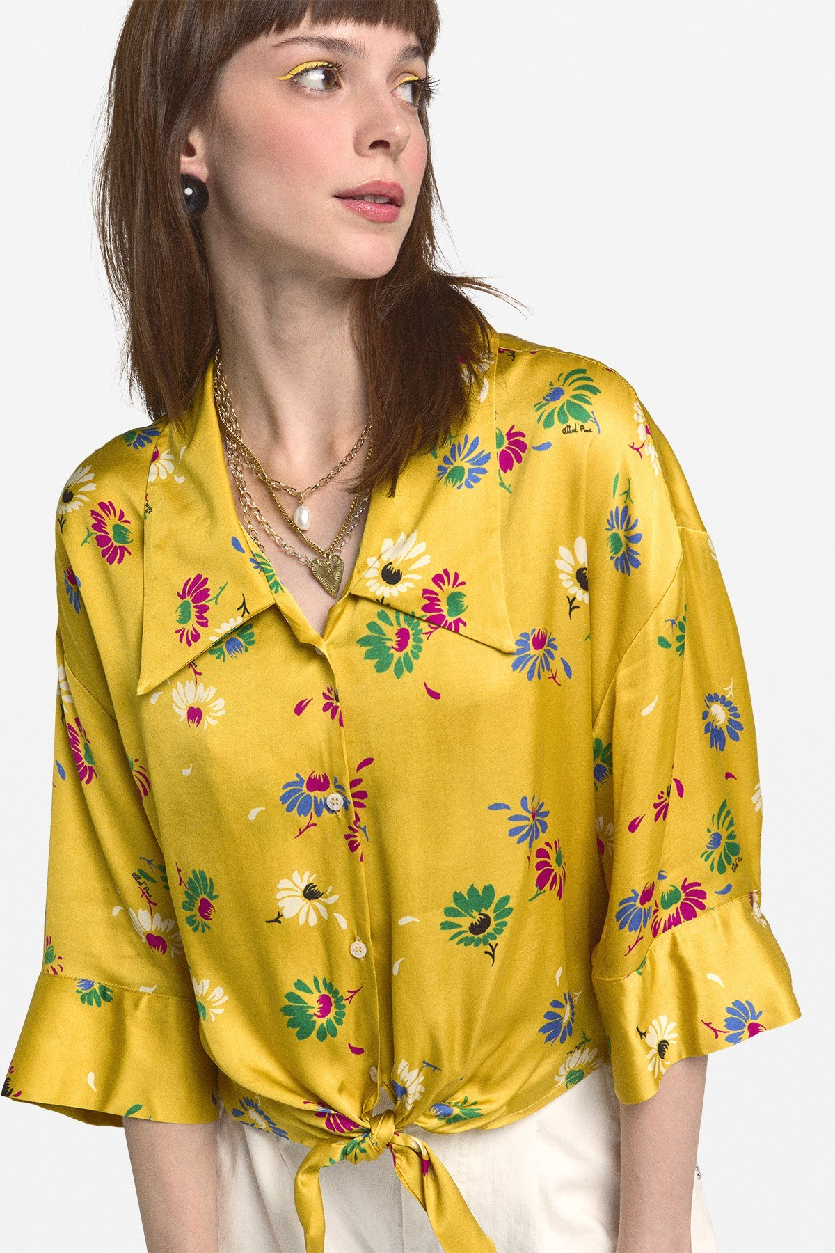 Viscose blouse with knot