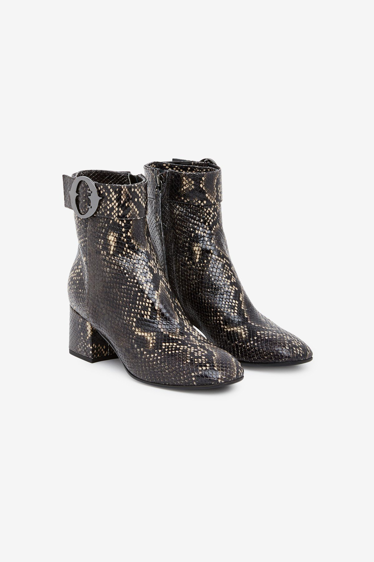 Printed leather ankle boots with python effect