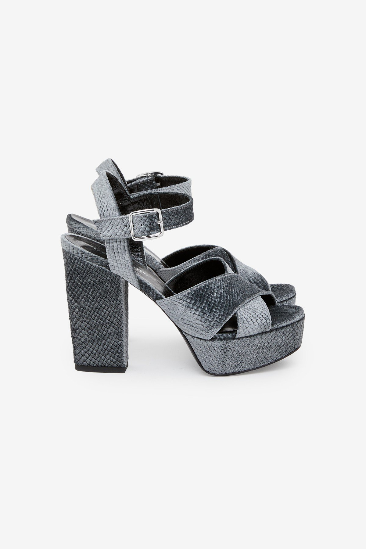 Printed leather sandals with python effect