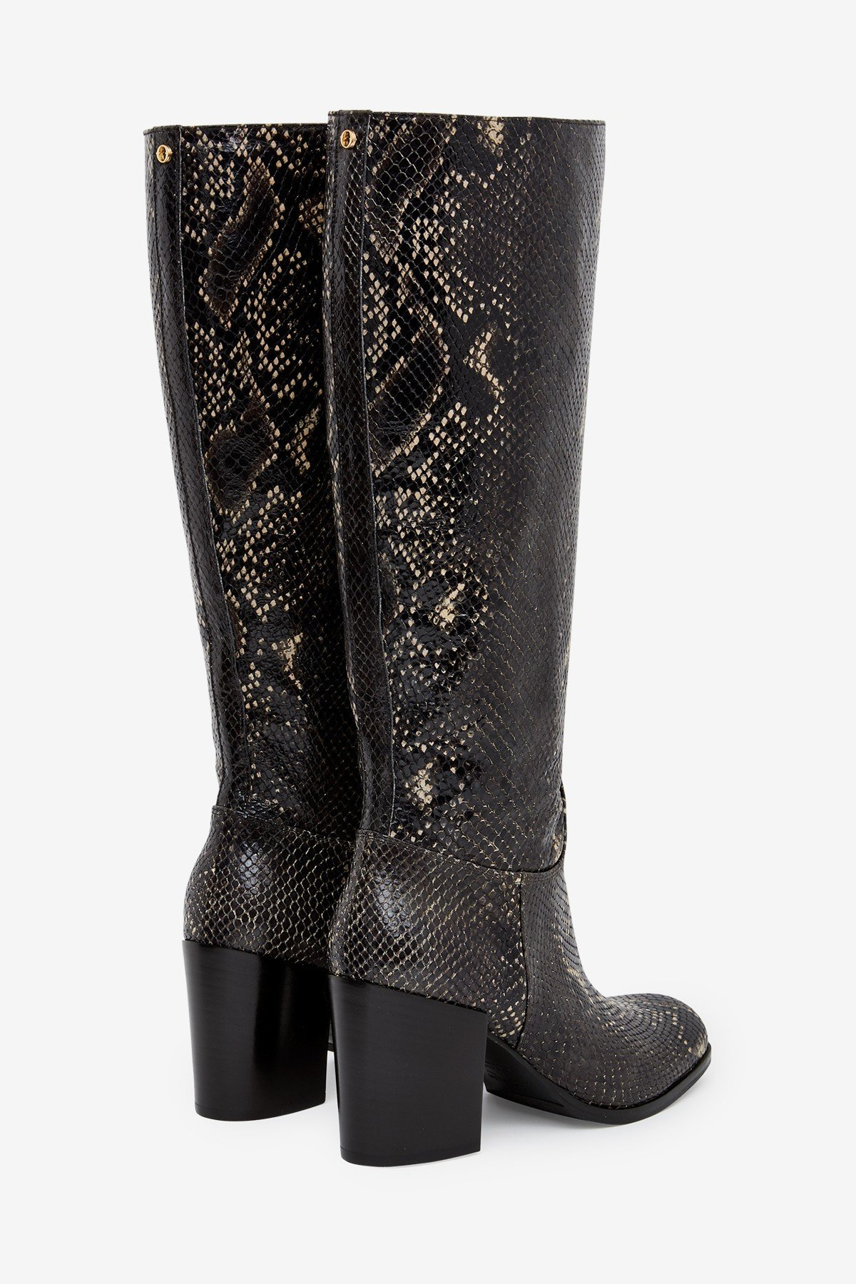 Printed leather straight leg boots with python effect