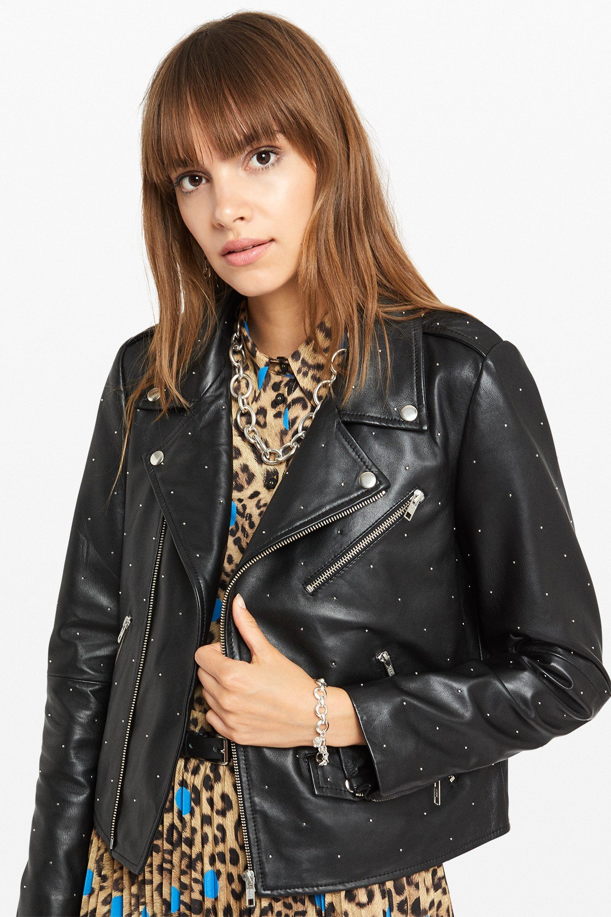 Studded leather jacket with jewel appliques