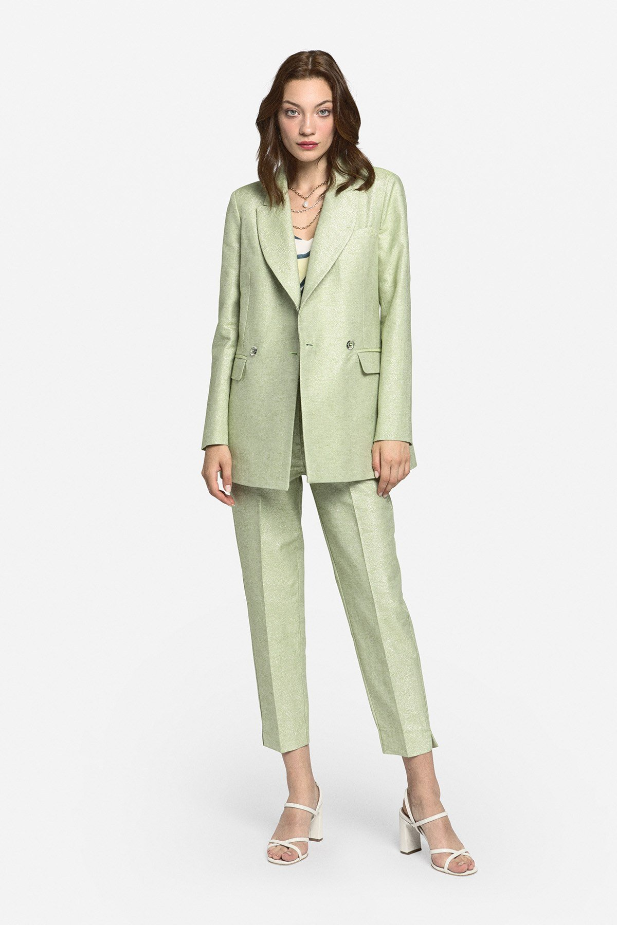 Linen blend double-breasted jacket