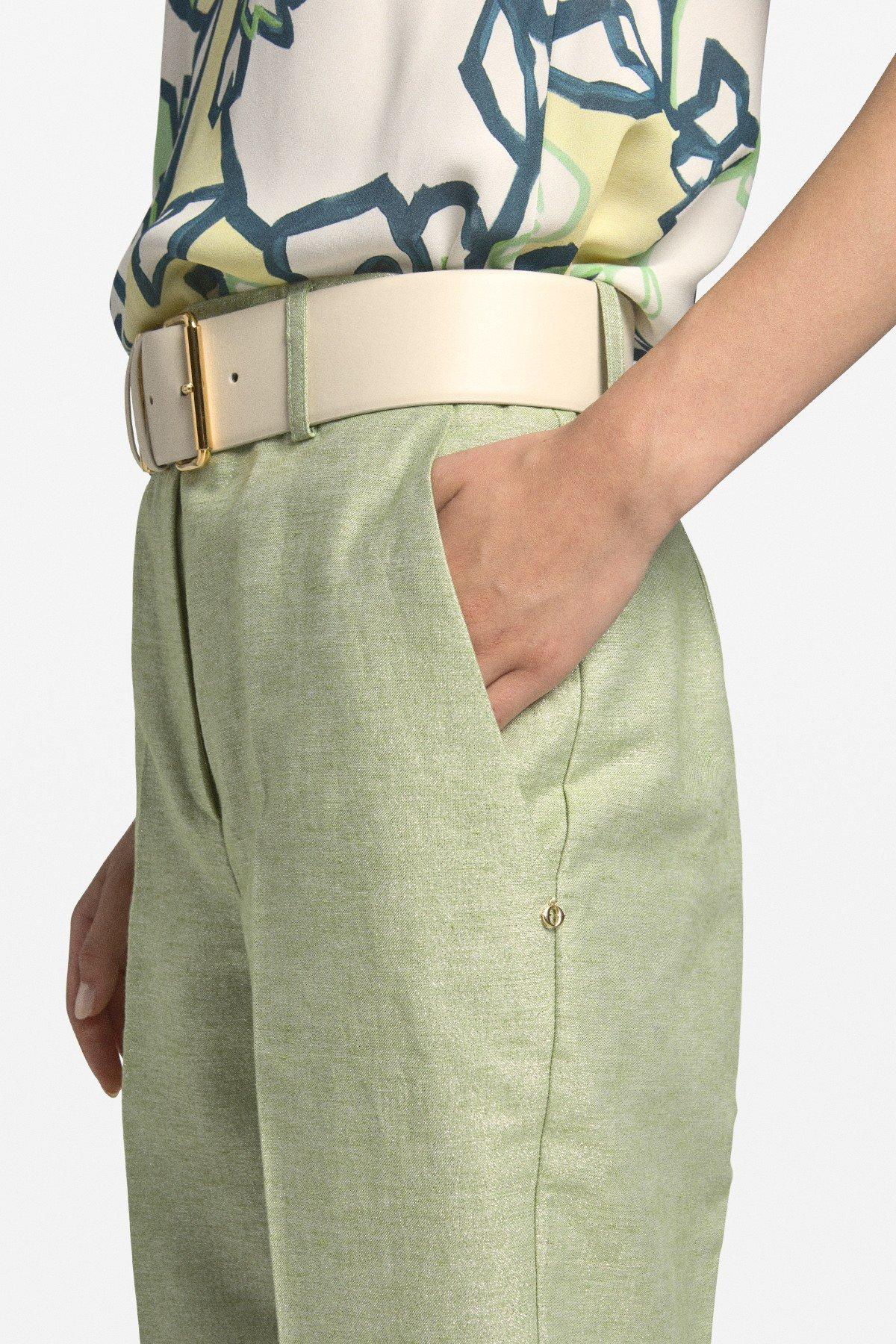 Linen blend cigarette trousers