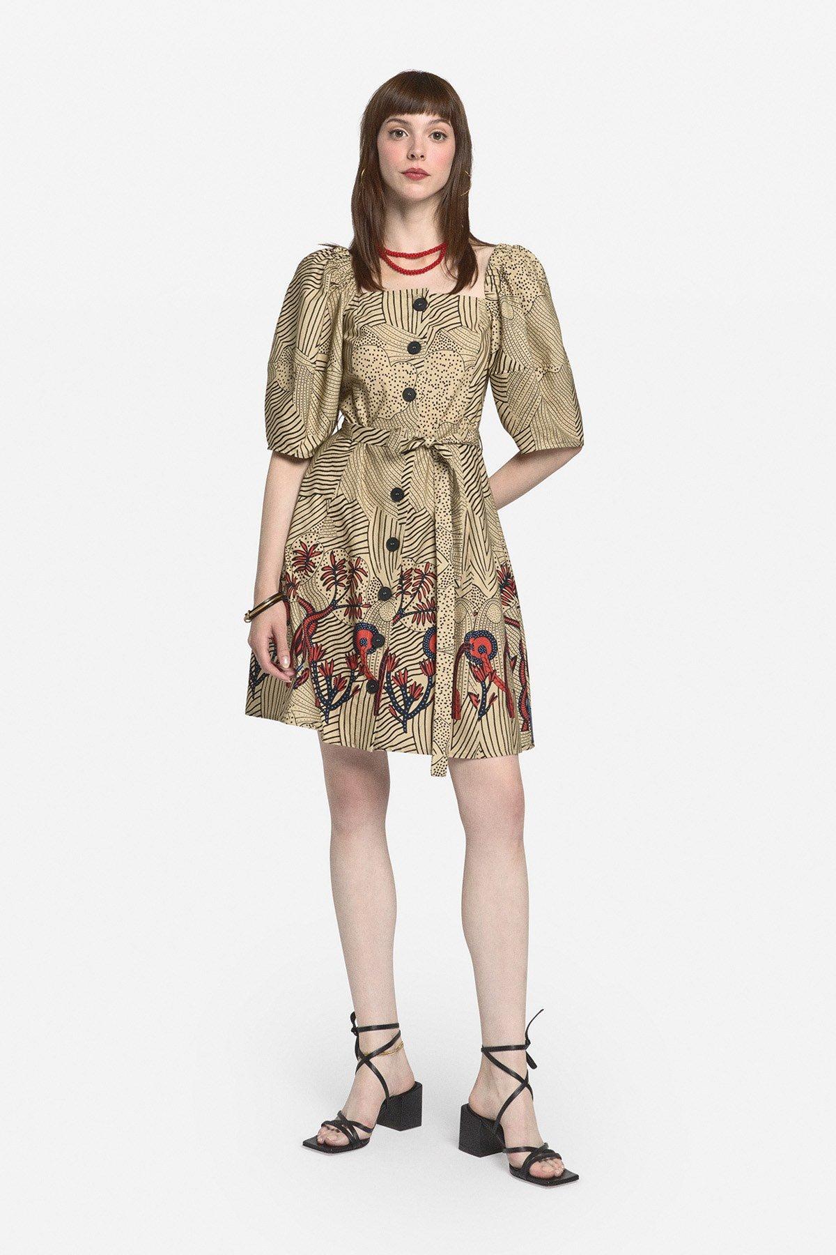 Cotton mini dress with straight neckline