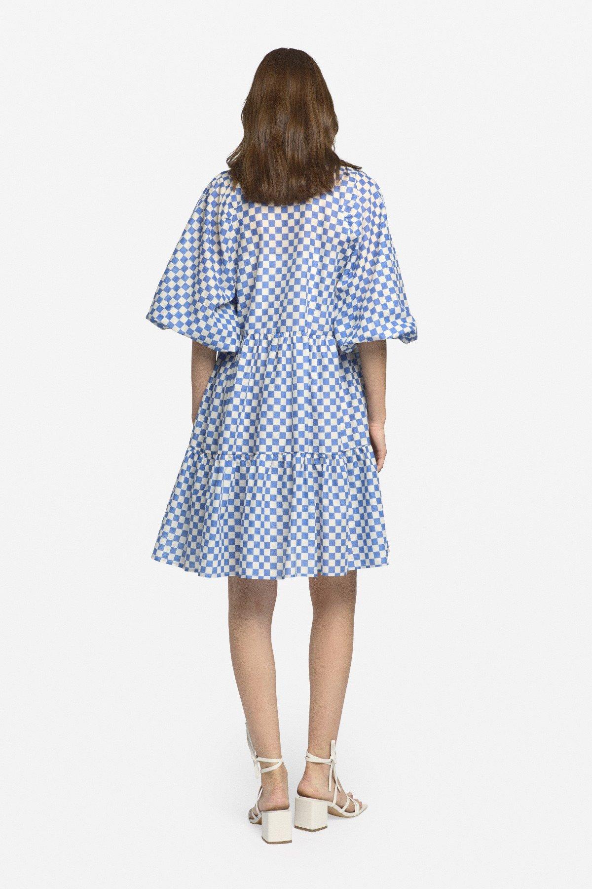 Cotton mini dress with ruffles