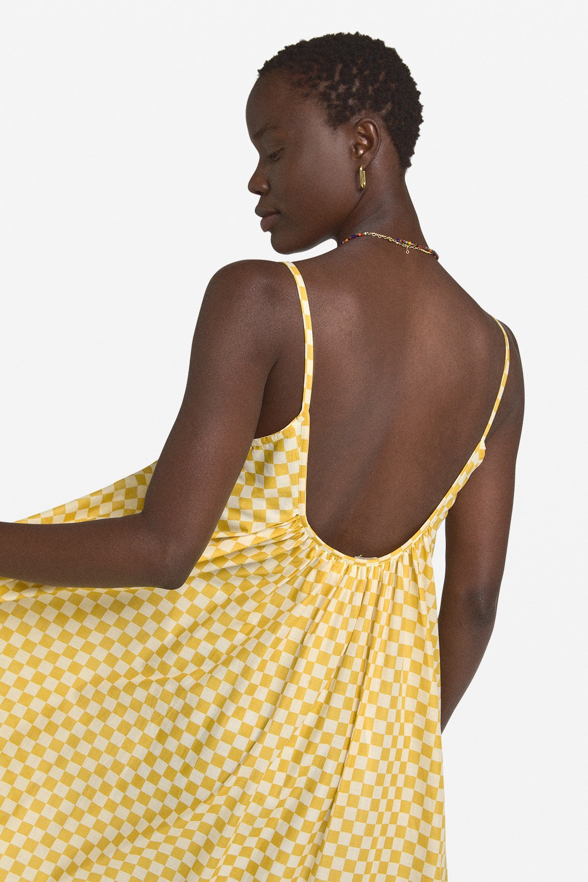 Cotton oversized dress with ruffle
