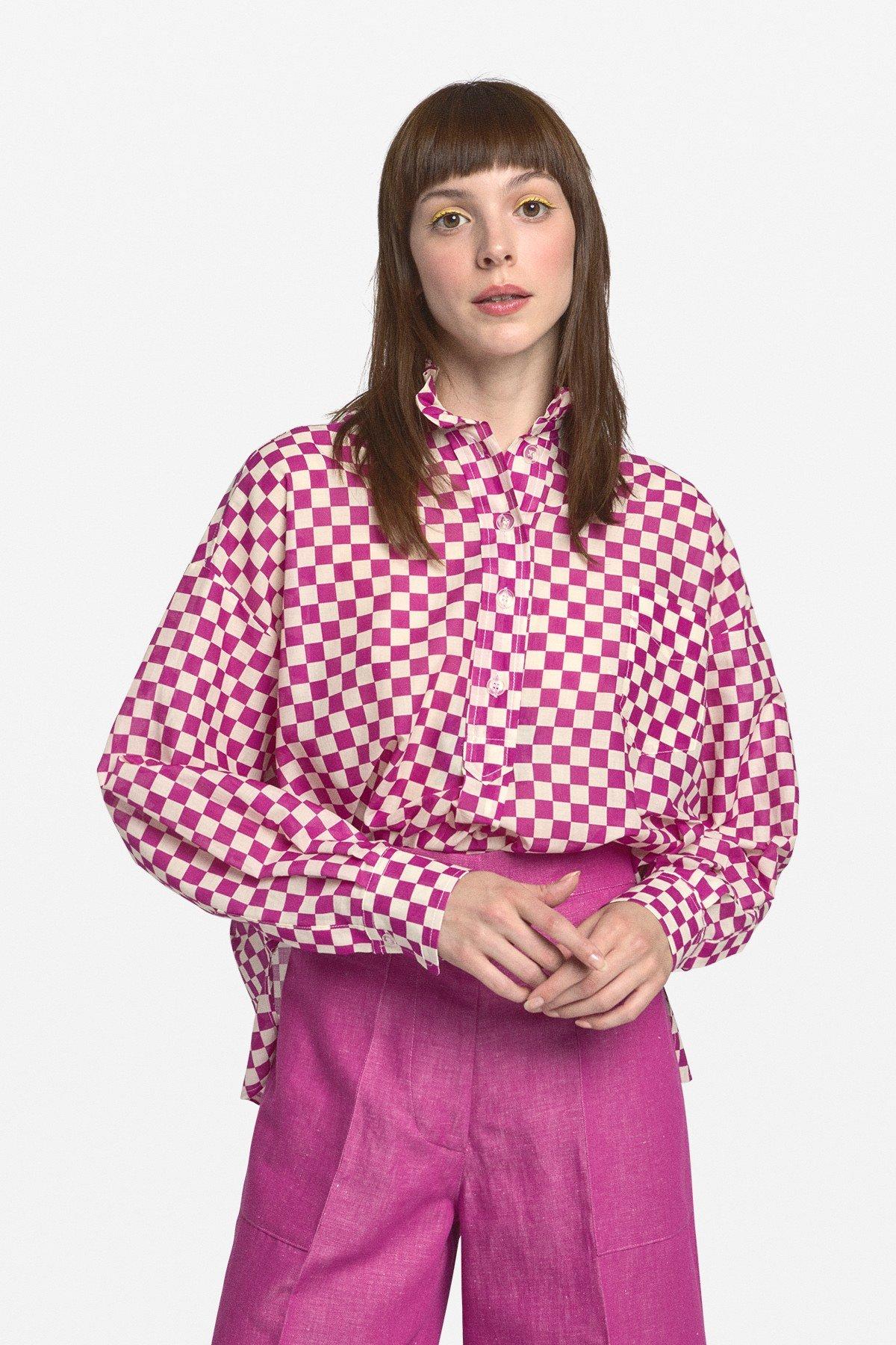 Cotton flared polo neck blouse