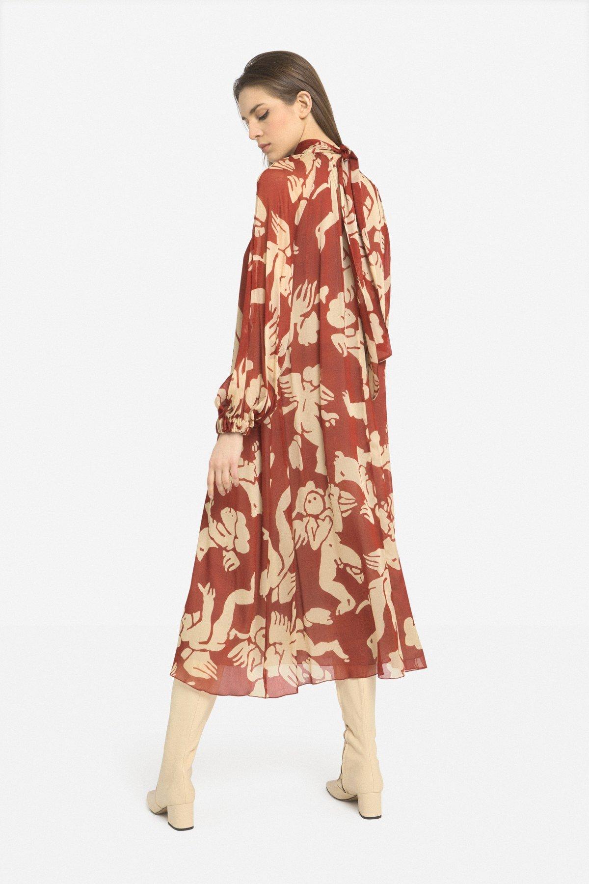 Printed viscose long dress