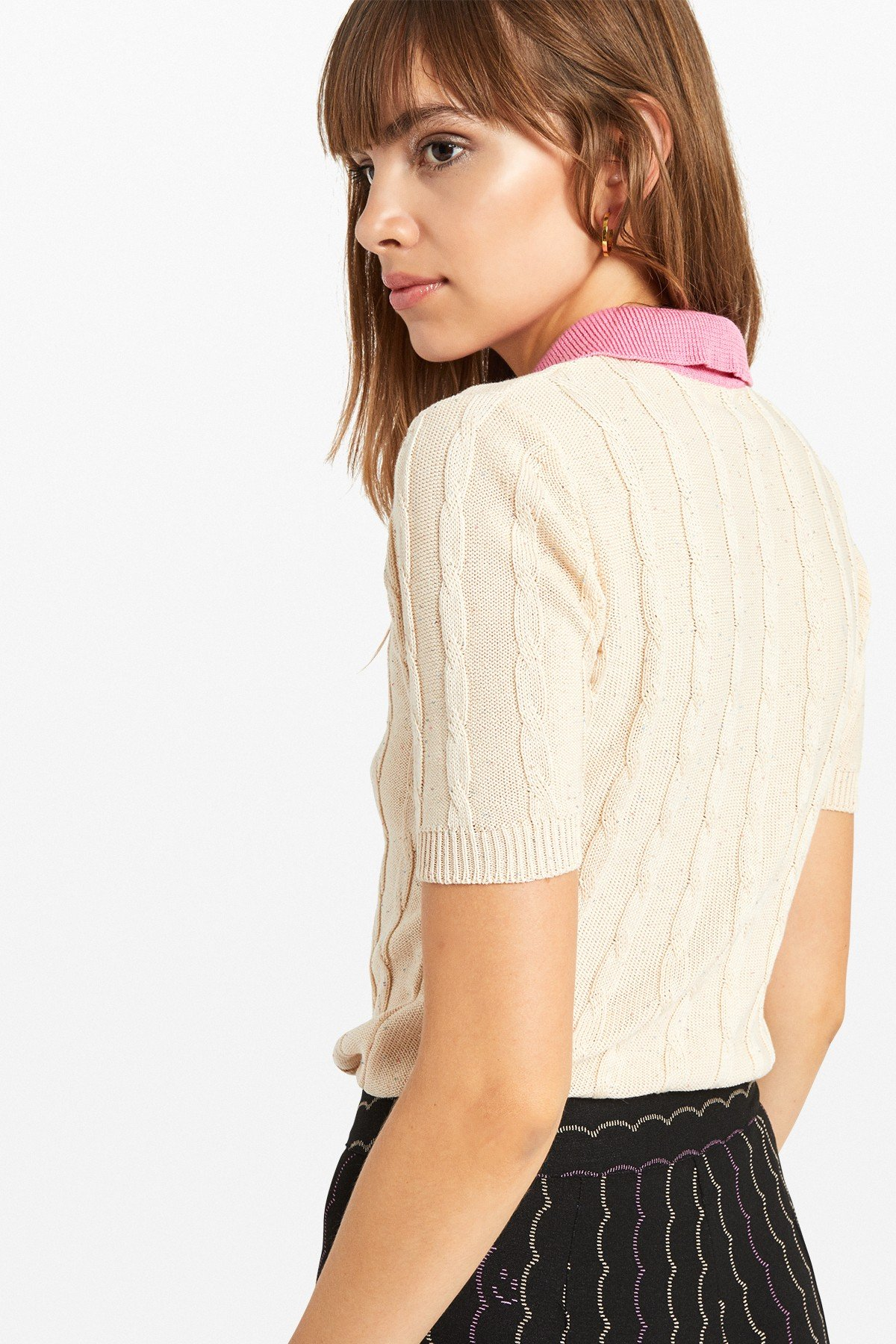 Polo necked cotton sweater with contrasting collar