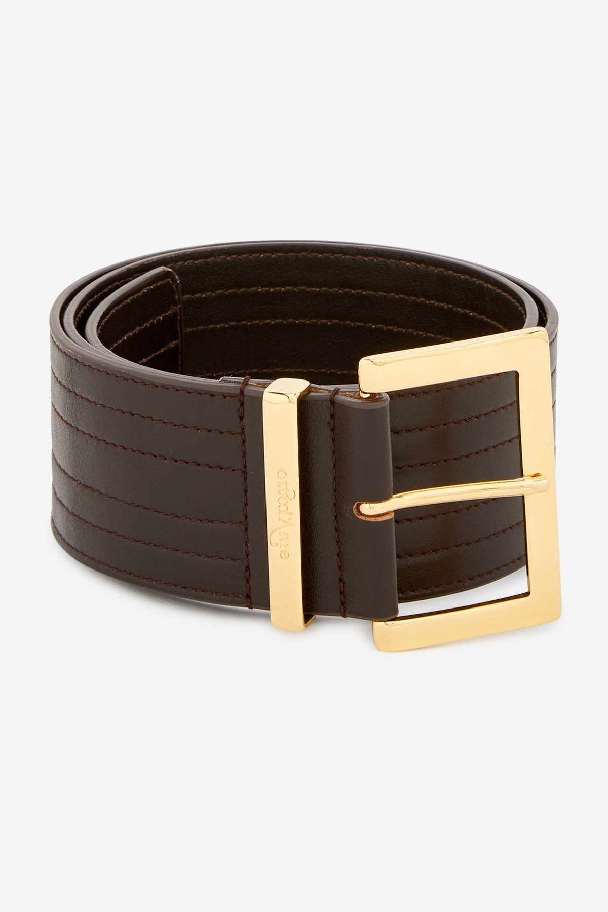 Ribbed leather belt