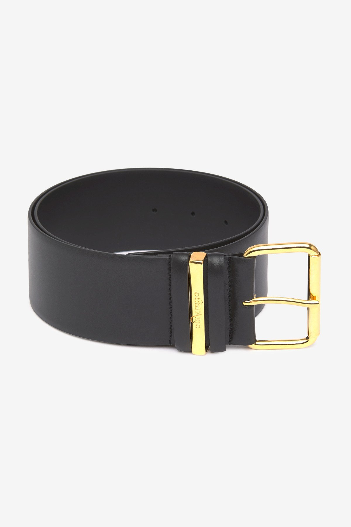 Leather belt with squared off buckle