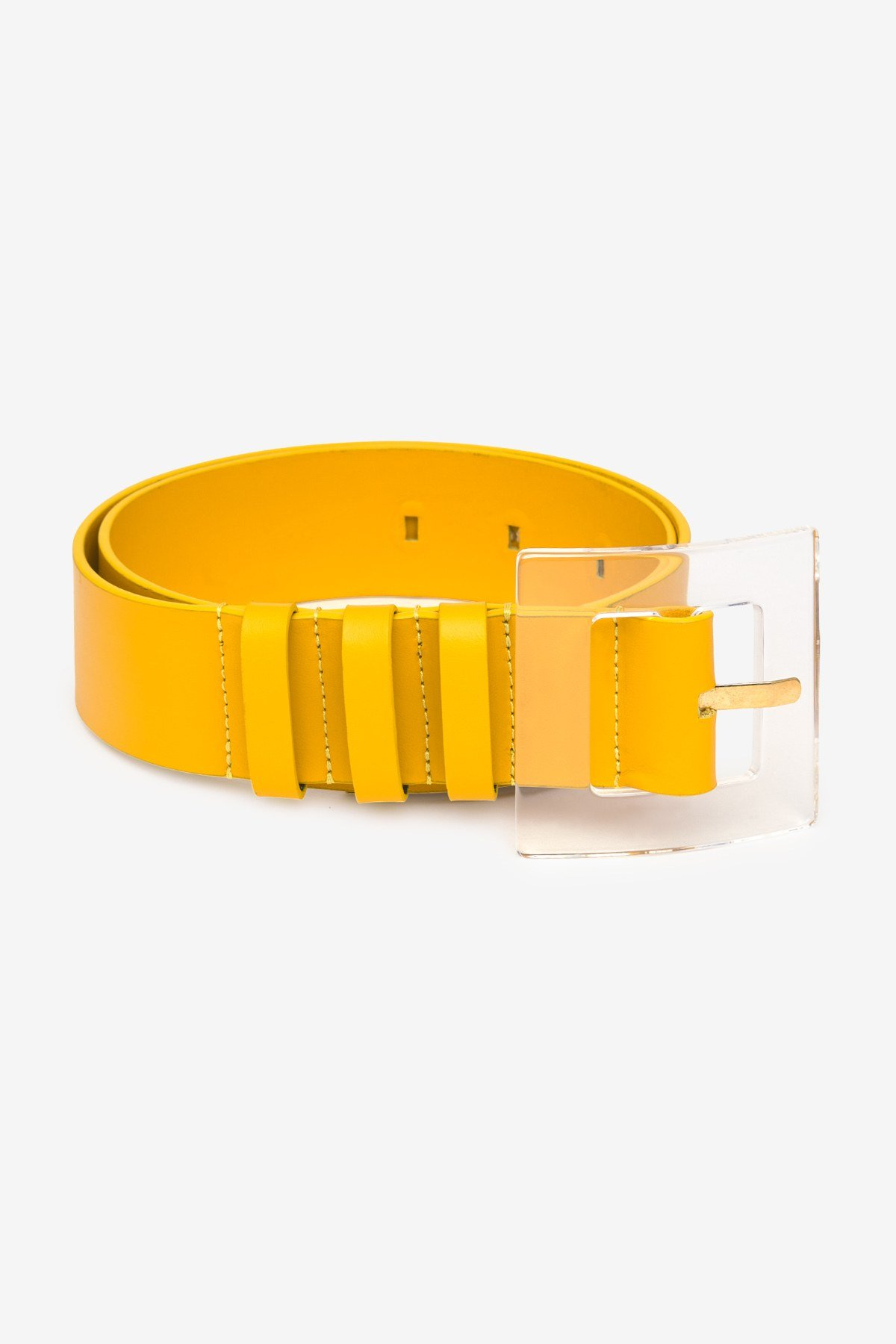 Leather high belt with buckle