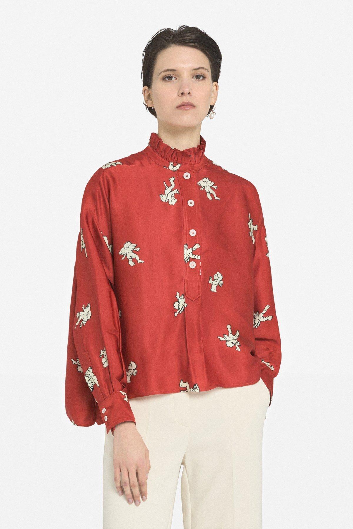 Flared viscose shirt