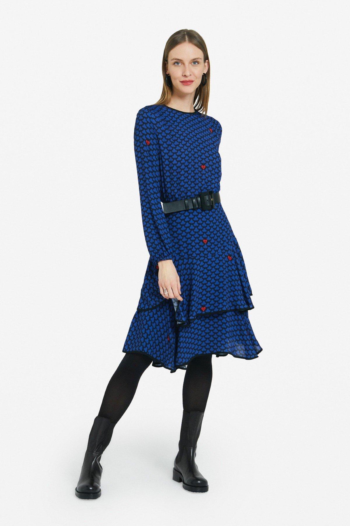 Viscose midi dress with ruffles