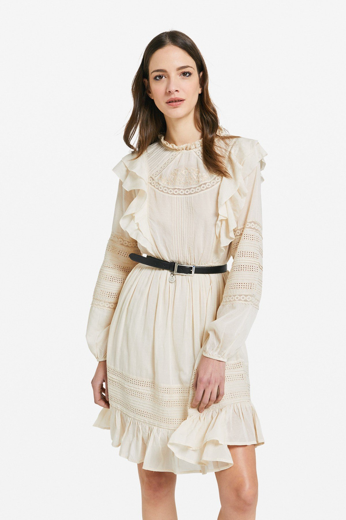 Embroidered midi dress with ruches and ruffle