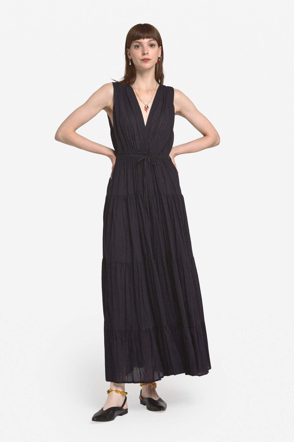 Cotton long dress with deep V neckline