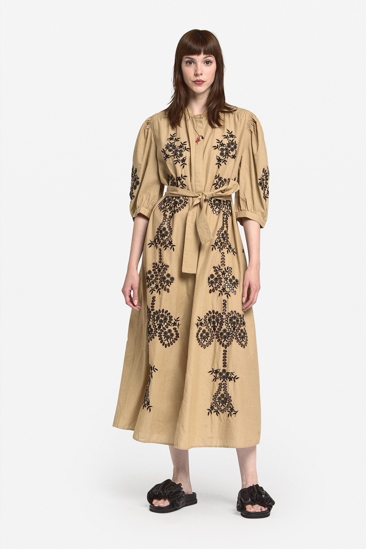 Flared embroidered cotton dress