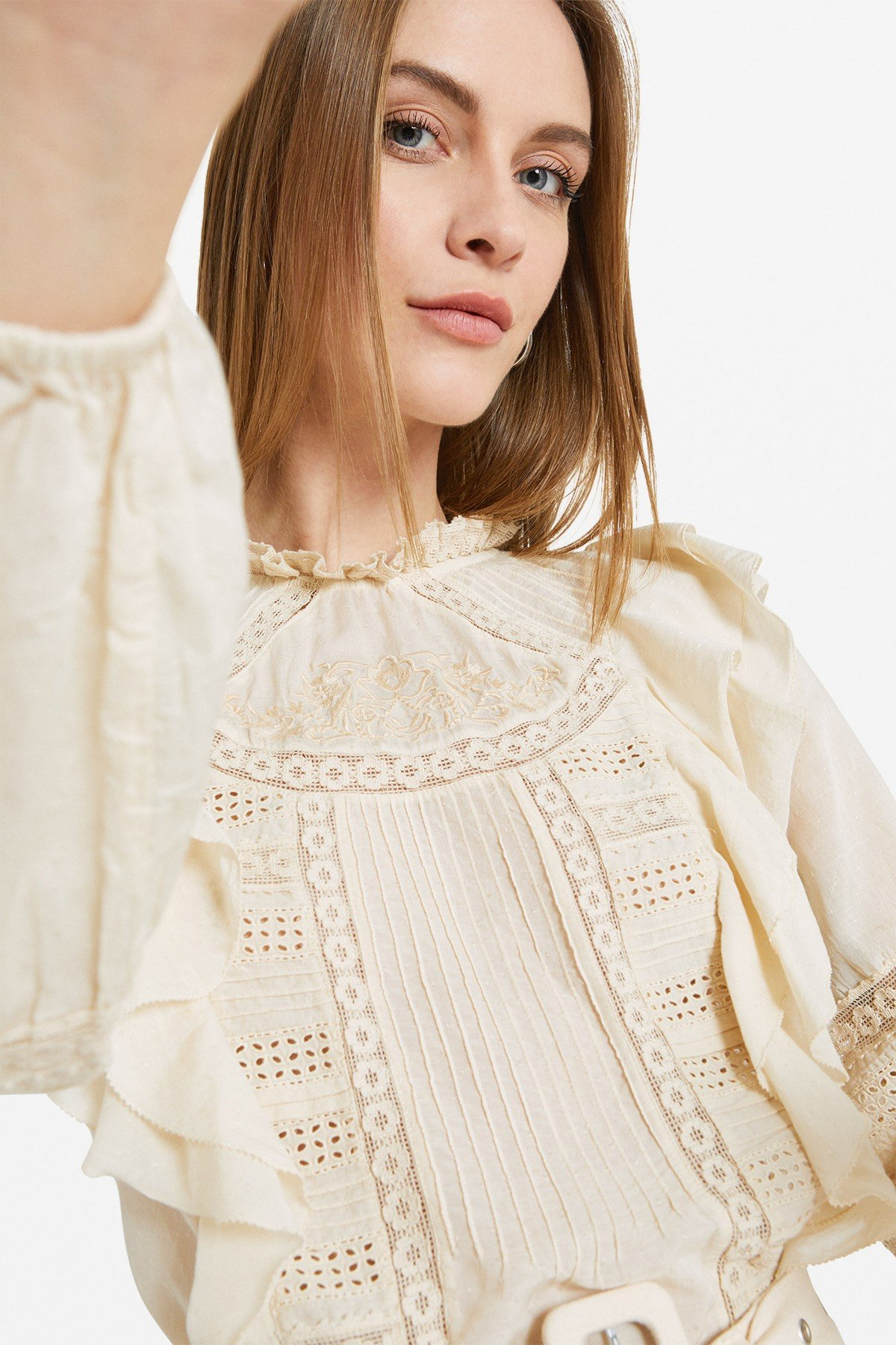 Embroidered blouse with ruches