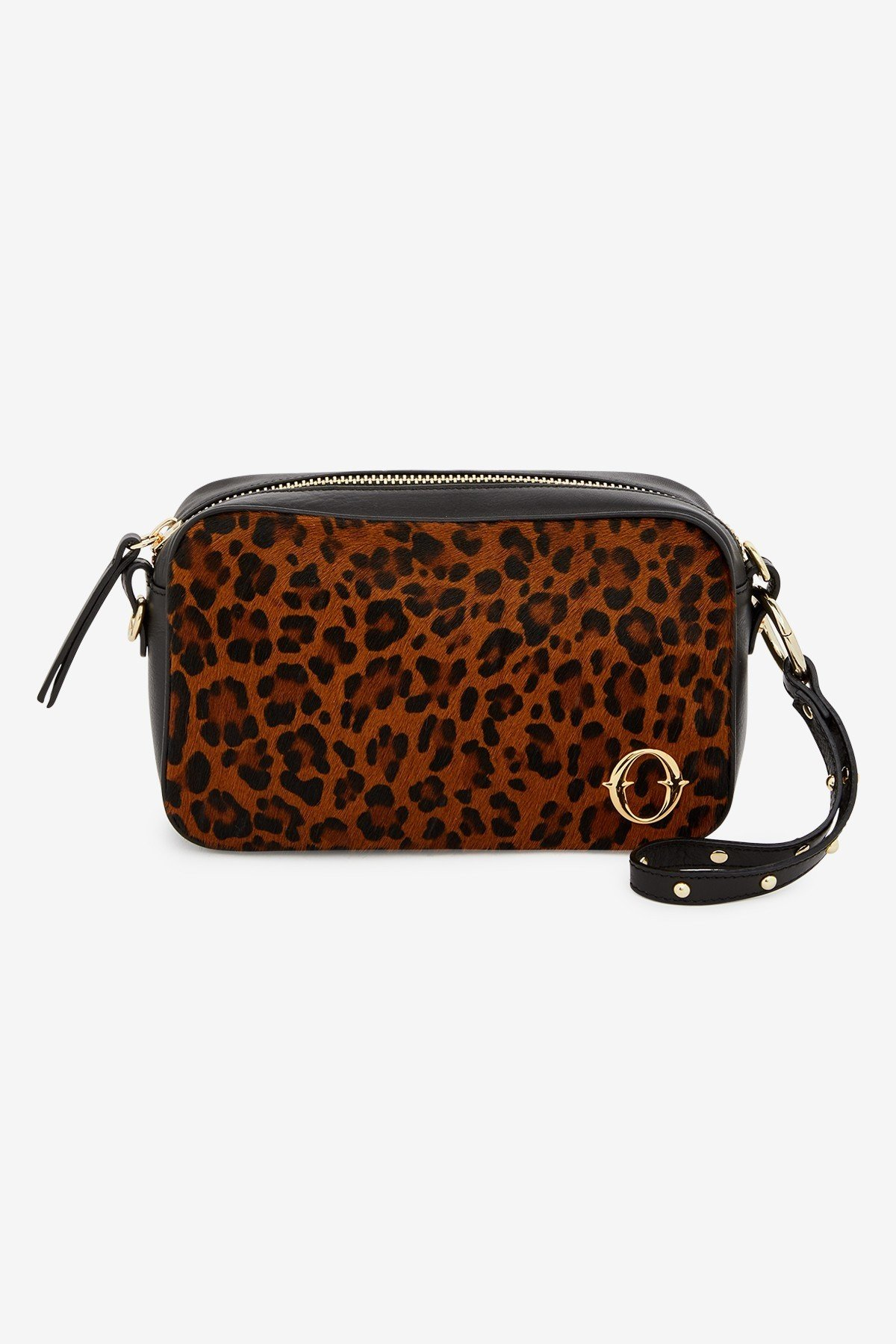 Leather camera bag with animal print insert