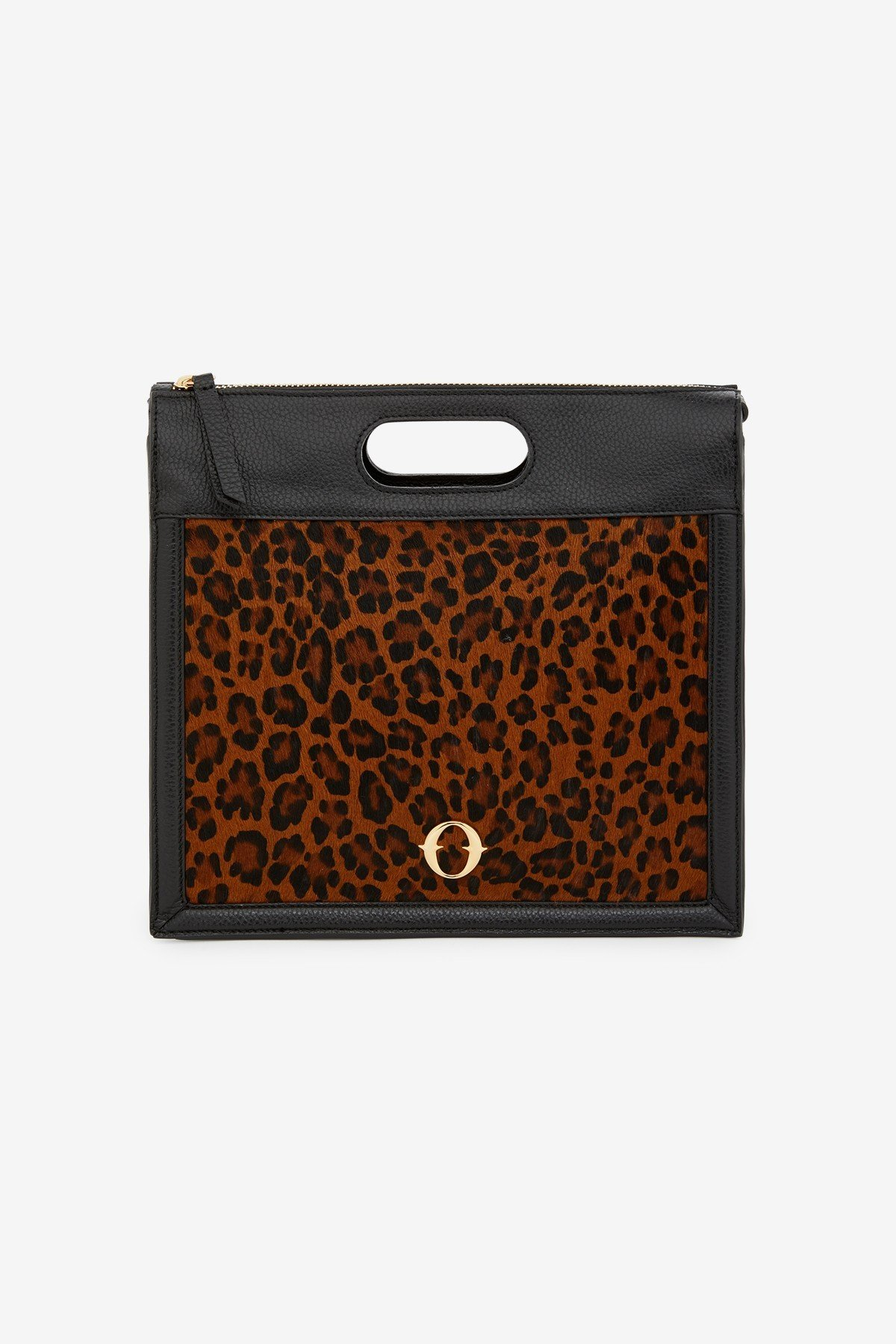 Leather medium handbag with animal print insert