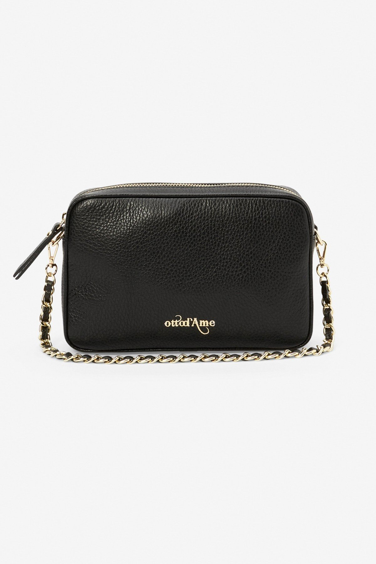 Small leather handbag with handle and strap