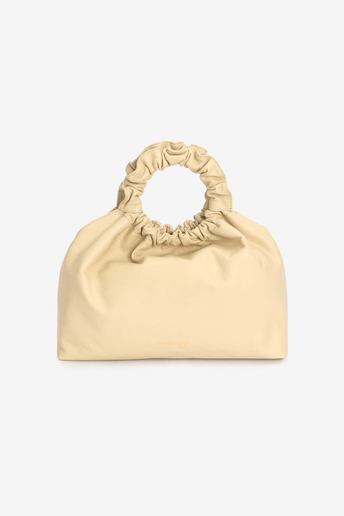Leather embossed handbag with ring handle