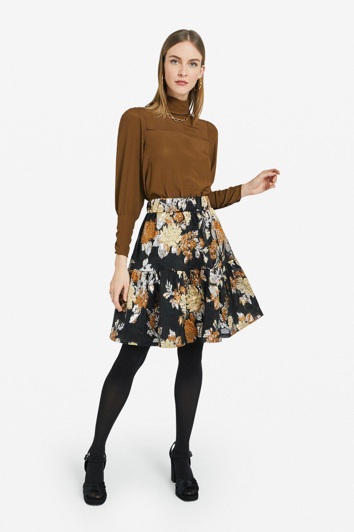 Flared turtleneck sweater